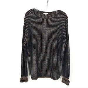 Mystree Navy/Rust Ribbed Sweater Size L Crewneck